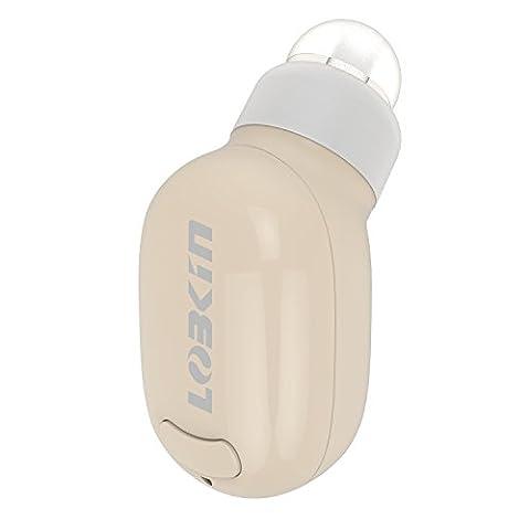 LOBKIN Mini écouteur Bluetooth pour Podcasts, Livres Audio, GPS, Port Invisible Ergonomique Ecouteur intra-auriculaire Sans-fil à micro,Invisible Ultra Petit Bluetooth 4.0 Earbud Casque avec Microphone (nude)