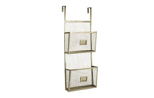 Designstyles Aktenhalter für die Tür, zwei Ebenen, langlebiges Metalldraht-Regal für Ordner, Dokumente, Zeitschriften - zum Aufhängen über der Tür für Büro und Zuhause gold