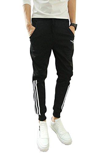 Minetom Herren Jungen Hippie Haremshose Jogginghose Freizeit Skinny Hose ( Schwarze Short Streifen EU S )