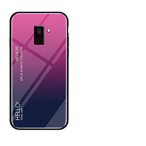BestCatgift Glare Series Galaxy J4 Plus Phone Cover Accessories [Glass Shell][Gradient Hülle] Bumper Shockproof Für Samsung J4 Plus/J4+ 2018 - Rose-Gray