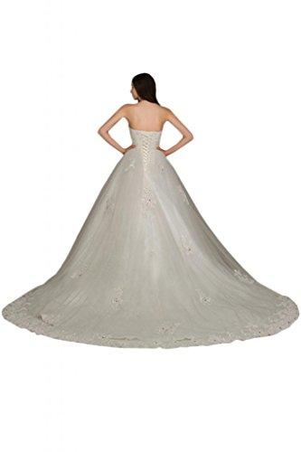 Sunvary Organza bianco posteriore, lacci da sposa, abiti da sposa discendente Gowns Bianco