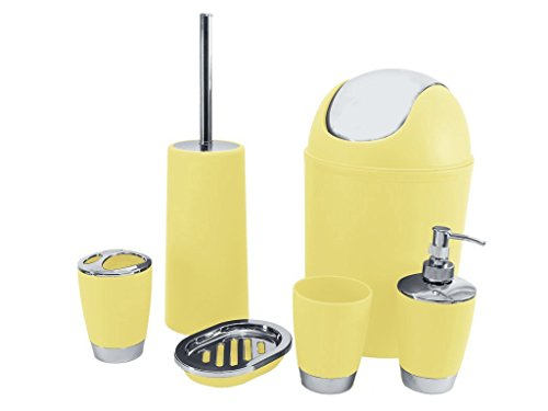 SQ Professional Bathroom Accessory Set, Yellow, 6-Piece