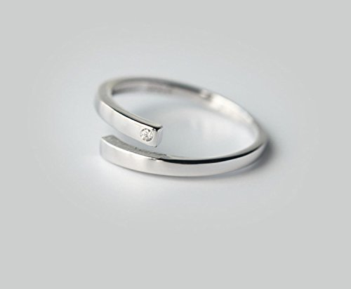 Ms Silberring 925 Mikro Diamanten Justierbares Ring,Silver-all Mikro-diamant-ring