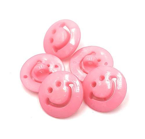 15 boutons en acrylique Smiley 15mm - différentes couleurs DIY à partir du Craft Express (Rose)