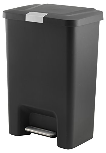 Addis Premium Kunststoff-Fußtritt Mülleimer, Verriegeln, 50Liter, Edelstahl schwarz, 43,5x 30,5x 42,5cm
