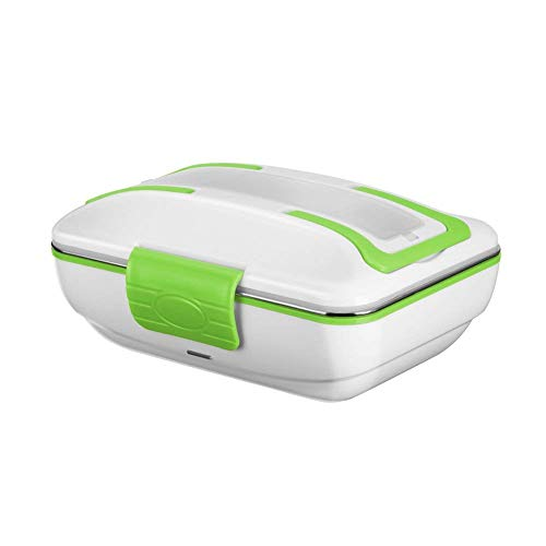 Ghb portavivande scaldavivande elettrico 0.9l in acciao inossidabile con 3 scomparti rimovibili portatile 40w bianco/verde