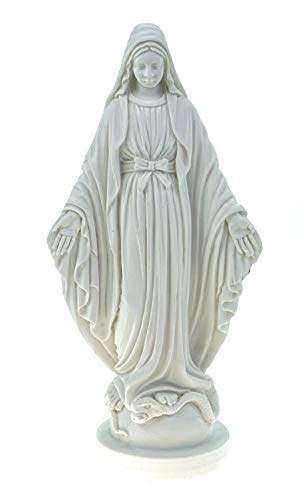 Alabaster - Figura Decorativa (17 cm), diseño de Virgen María, Color Blanco