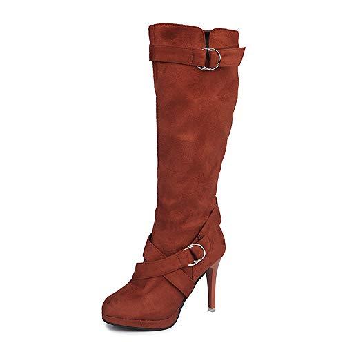 Stiefel Damen Vintage, Sonnena Herbst Schnalle Roman Stiefel Plateau High Heels Schuhe Boots Frauen...