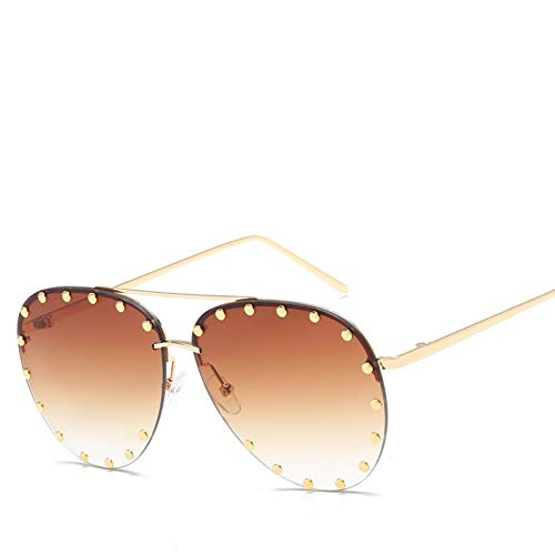 Kjwsbb Randlose Rivet Oval Sonnenbrille Persönlichkeit Metall Frauen Grün Braun Rot Goldrahmen Frosch Sonnenbrille