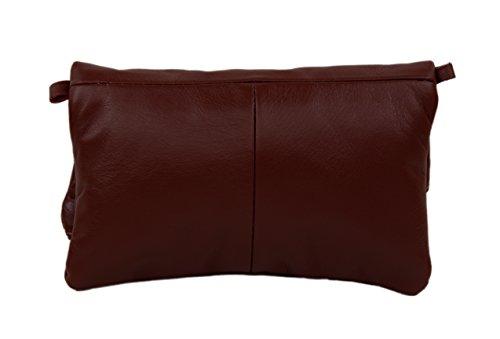 SLINGBAG Samira Clutch / Handtasche / Umhängetasche aus echtem Leder / FARBAUSWAHL (Schwarz) Braun
