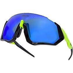 Gafas ciclismo hombre. Polarizadas Flight Jacket. 3 Lentes intercambiables,antivaho, resistentes a impactos.Protección UV400. Ideales para Running, Esquí, Golf, mtb, Triatlon, Ciclismo (amarillo)