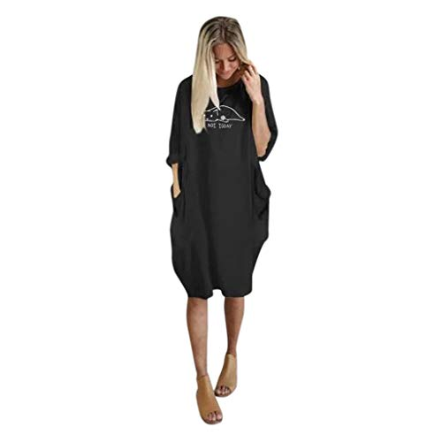 UFACE Damen Kleider Sommer Kleid Damen Langarm Kleid Braun Damen Kleider Sommer Lang Kleid Damen Langarm Elegant Kleid Braun Damen Damen Kleider Sommer Knielang Schwarzes Kleid Damen Langarm