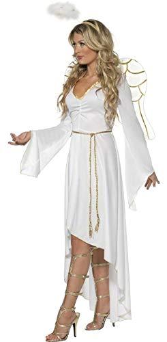 Kostüm Göttliche Engel - Damen Göttlich Engel Wings & Halo Weihnachten Festlich Kostüm Kleid Outfit 8-18 - Weiß, UK 12-14