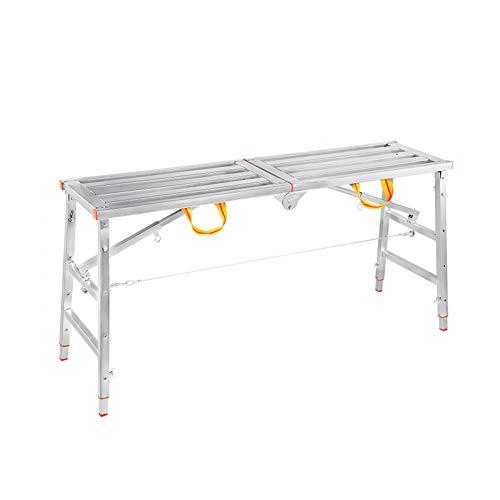 BgDD Anhebbares Multifunktionsgerüst Leitern rutschfest Klappbar Konstruktionsleiter Belastbar Bis 500kg,Silver,140 * 40cm
