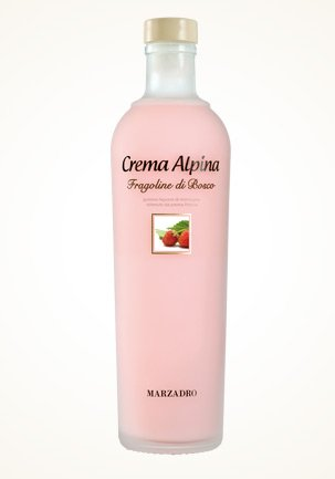 Marzadro Crema Alpina Liquore Fragoline Bosco/Waldbeercremelikör mit Sahne 700 ml.