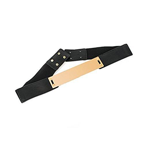 Damen elastisch Schwarzer Gürtel mit Gold OBI Band Metallplatte Schnalle - Voll Einstellbarer und dehnbar - Button Anstecker Verschluss - passend für formelle Bekleidung oder Freizeit Bekleidung