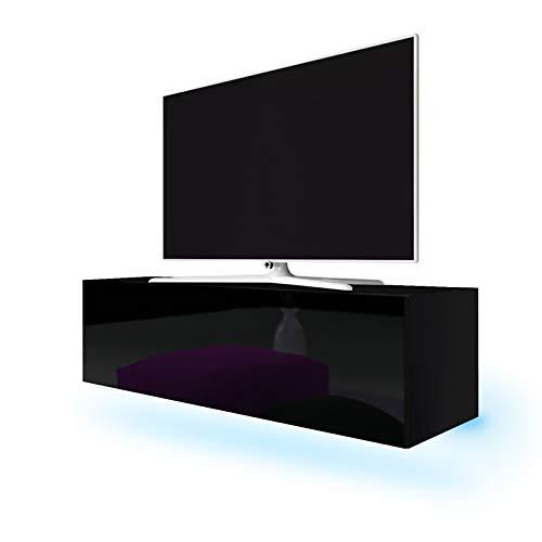 Lana - Meuble TV suspendu / Table Basse TV / Banc TV de Salon (140 cm, Noir mat / Noir Brillant avec LED bleue)