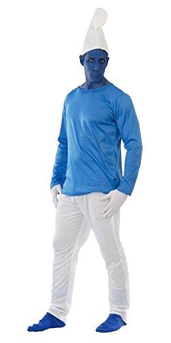 �m f. Herren Karneval Fasching Märchen blau weiße Mütze Gr. M - L, Größe:L (Halloween Schlümpfe Kostüme)
