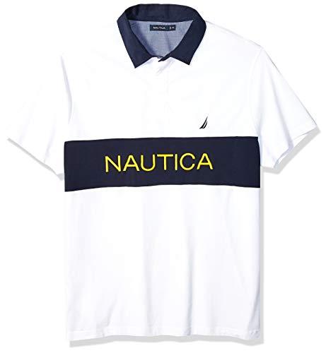 Nautica Men's Classic Fit Short Sleeve Logo Stripe 100% Cotton Polo Shirt -