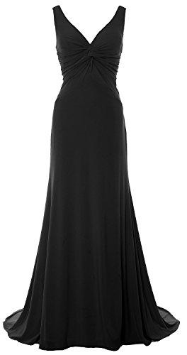 MACloth Women Mermaid V Neck Jersey Evening Gown Cowl Back 2018 Long Prom Dress Black