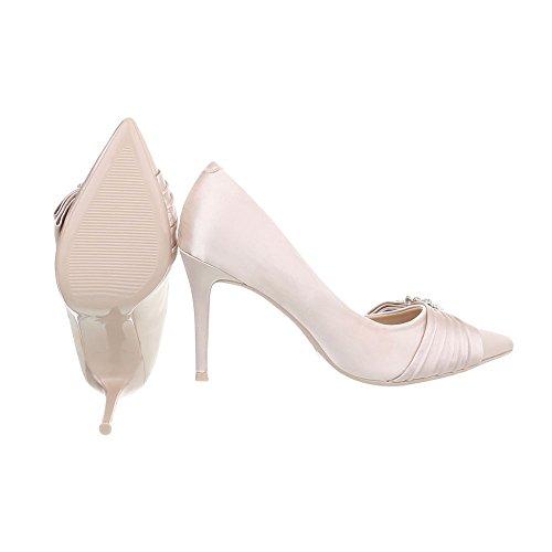 Ital-Design High Heel Pumps Damenschuhe High Heel Pumps Pfennig-/Stilettoabsatz High Heels Pumps Beige Gold 5869