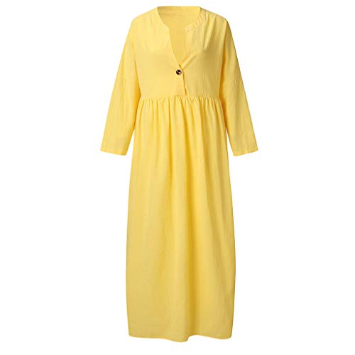 TPulling Damen Casual Kleid Strandkleid  V Ausschnitt Lose A Linie Ärmellos Tunika Swing Kleid Minikleid -