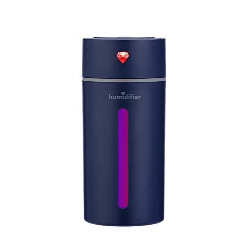 PRAVETTE Mini LED Luftbefeuchter, 250ml 7 Farbe Tasse USB Lampe Ultraschall Zerstäubung Luftbefeuchter,Abschaltautomatik Portable Zerstäuber für Office Auto und Zimmer (Blau)