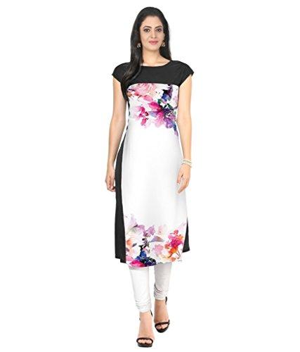 Velentino Trend Women Multicolor Floral Printed Crepe Kurtis VAT103 Large