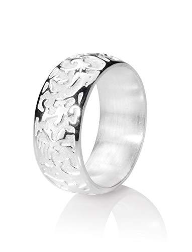 Drachenfels Luxus Damen Bandring | Kollektion 1001 Nacht | Edler Ring mit feinem Ornament in Echtsilber | Design-Schmuck aus 925 Sterling Silber | Gr. 58