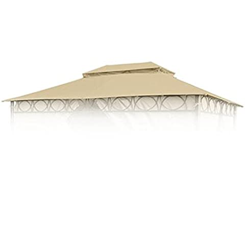Ersatzdach für Cape Town Garten-Pavillon 4x3m Natur Pavillondach Kaminabzug (Buri Natur)