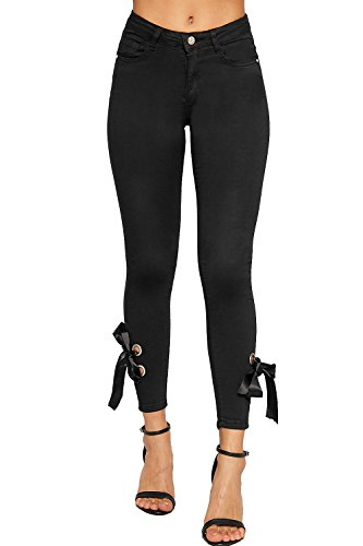 WEARALL - Damen Spitze Nach Oben Gebunden Öse Knöchel Tasche Damen Strecke Denim Dünn Bein Jeans - Schwarz - 36 (Oben Spitze Öse)