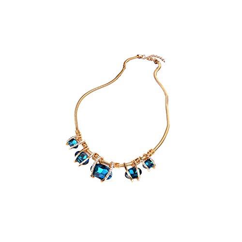 Zwzi Frauen Saphirglas Aussage Halskette Kristall Imitation Diamant Damen European Festival/Holiday Blue Screen Farbe Dark Green Halskette Schmuck,Blue (Imitation Diamant-halskette)