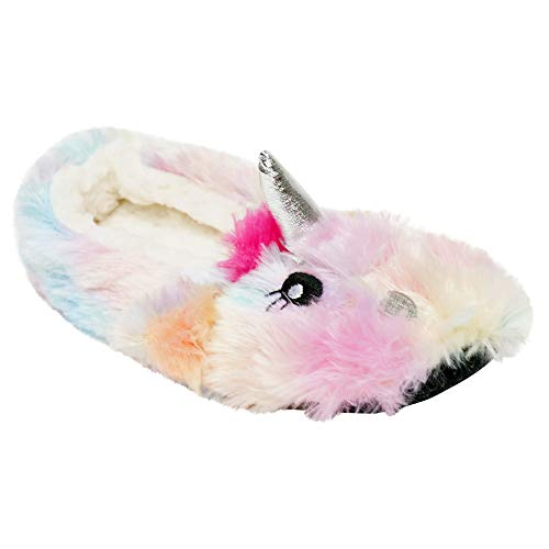 K Collection Girls/Ladies Novelty Soft 3D Rainbow Unicorn Plush Slippers Sizes 9-2 Kids / 3-8 Ladies Mini Me Mother Daughter Matching Gift
