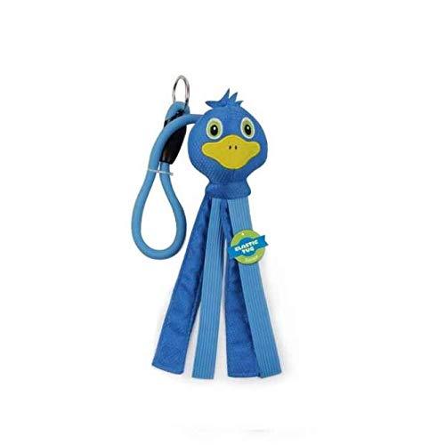 Zieh- und Zerrspielzeug Hundespielzeug blaue Ente mit Gummiband zum Werfen und Zerren -
