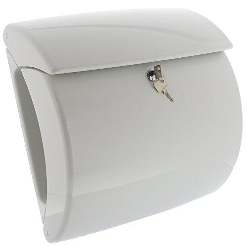 BURG-WÄCHTER, Briefkasten in Klavierlack-Optik, A4 Einwurf-Format, Innenbeleuchtung, Kunststoff, Piano 886 W, Weiß