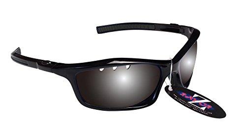 RayZor Professional leichte UV400schwarz Sports Wrap Running Sonnenbrille, mit einem belüfteten Smoked gespiegeltem blendfreiem Objektiv