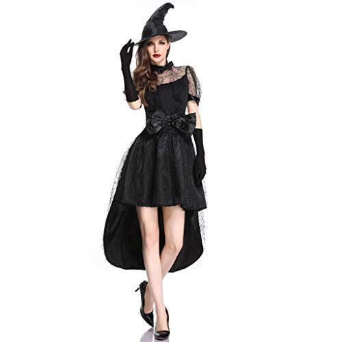 Damen Hexe Kostüm Kleid mit Hut Handschuhe Piebo Halloween Weihnachten Performance Kleider Pirat Ghost Cosplay Dress Smoking Kleid Bowknot Spinnennetz Sexy Spitze Kurzarm Minikleid Karneval - Sexy Halloween Pirat Kostüm