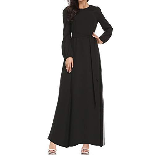 Innerternet Frauen Muslim Lose Langarm Arabisches Kleid Islam Maxi-Kleid Trompetenärmel Abaya Lange...