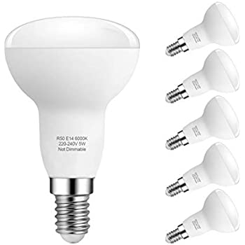 E14 Bombillas LED, 5W R50 Reflector Bombillas LED, 40W Bombillas incandescentes equivalentes, Blanco frío 6000K, Ángulo de haz de 180 °, Paquete de 6