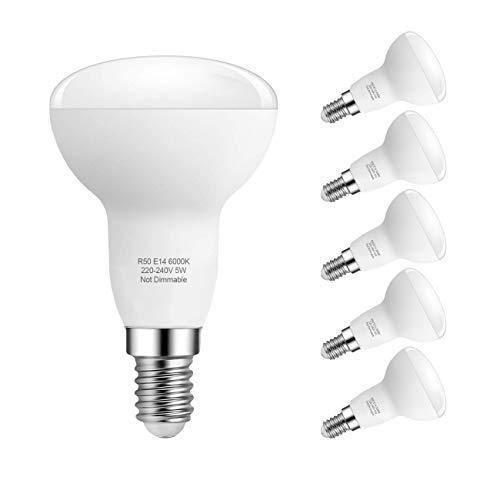 6-Pack Reflecteur Ampoules LED E14 ,Pursnic R50 LED 5W Équivalent Ampoule Incandescente 40W, 420lm, Blanc Froid 6000K, faisceau de 180°