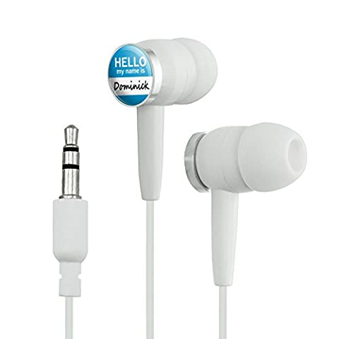 Dominick Hello My Name Is Novelty In-Ear Earbud Headphones - White