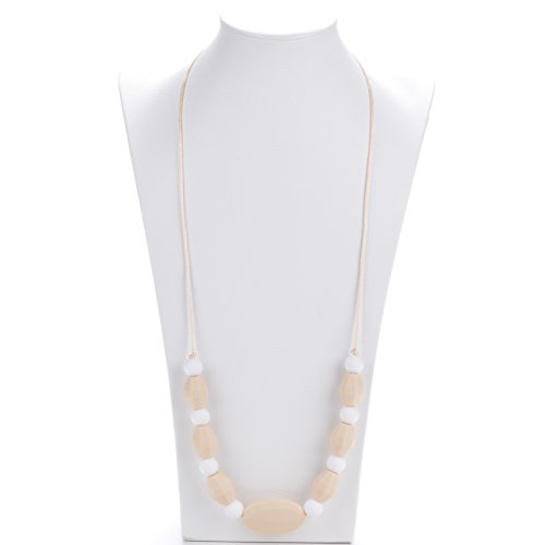 Image of Eine Vorgeburtliche Stillen Beißring Silikon Halsband für Mütter und Babys - Weiß und beige