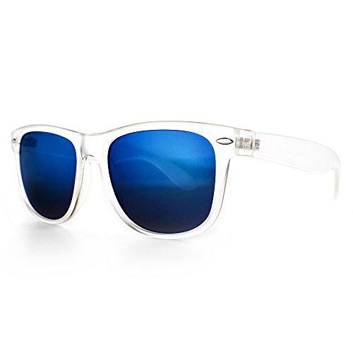 Distressed Blues Matt matte Sonnenbrille im Retro Wayfarer Stil 80er (durchsichtig-blau-verspiegelt)
