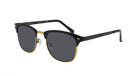 rainbow safety Herren Damen Sonnenbrille Auto Brille Nachtsichtbrille Polarisierte Gläser RWNP4 (Schwarz Cat.3)