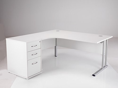 BiMi 1600mm Ergonomic Left Hand Corner Desk With 3 Draw Desk High Pedestal Online