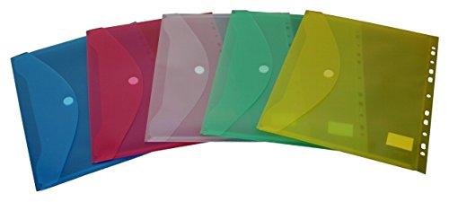 EXXO by HFP 35300 Dokumententasche Klettverschluss und Abheftrand A4 quer, 10 Stück, farbig sortiert