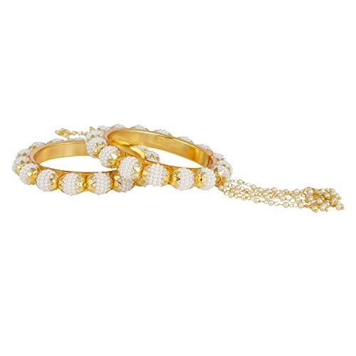 Indische Bollywood 14 K Gold plattiert Kunstperlen Perlen Armband Brautschmuck Quaste Armreif Set (2 Stück) für Frauen - 2.60 ()