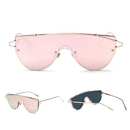 BUYAOAQ Frameless Sunglasses Damen Celebrity Metal Übergroße Sonnenbrille Für Herren Single Lens Sunshade Cool, A