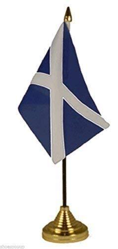 St Andrews Kreuz (Marineblau), Polyester, Tisch Flagge 10.16 cm X 15.24 cm, Gold