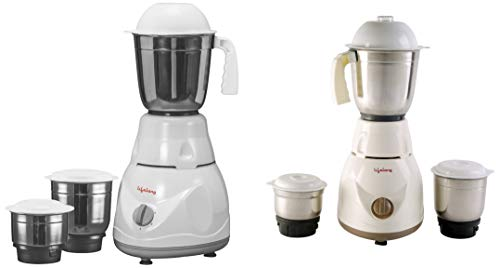 Lifelong Power Pro 500-Watt Mixer Grinder with 3 Jars Combo, White/Grey + Brown
